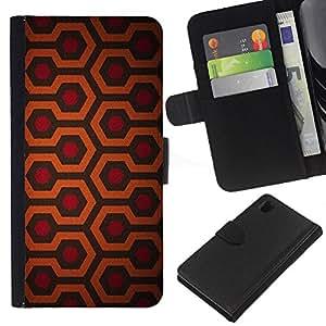 [Neutron-Star] Modelo colorido cuero de la carpeta del tirón del caso cubierta piel Holster Funda protecció Para Sony Xperia Z1 L39 [Hexagon Pattern Red Orange Pattern]
