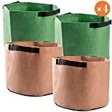4 Pack 10 Gallon Grow Bags Non-Woven Fabric Plant Pots with Strap Handles for Nursery Garden Planting Potato Flower, Portable Durable Aeration Thickened Home Farm Planter Growing Bag Containers