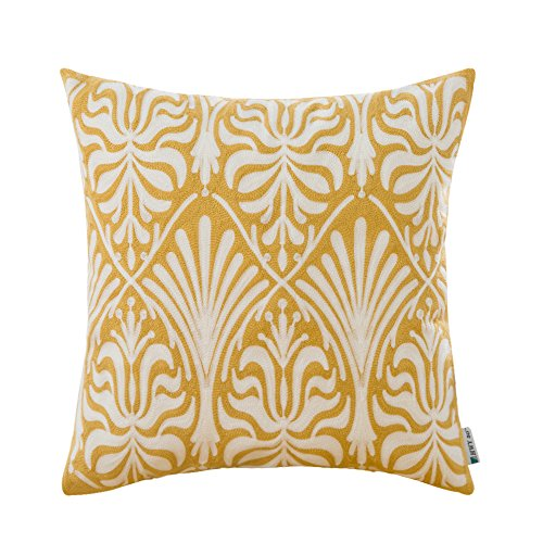 HWY 50 Cotton Embroidered Decorative Throw Pillow Covers Cushion Cases for Couch Sofa Bed Yellow European Simple Geometric Floral 18 x 18 inch, 1 Piece