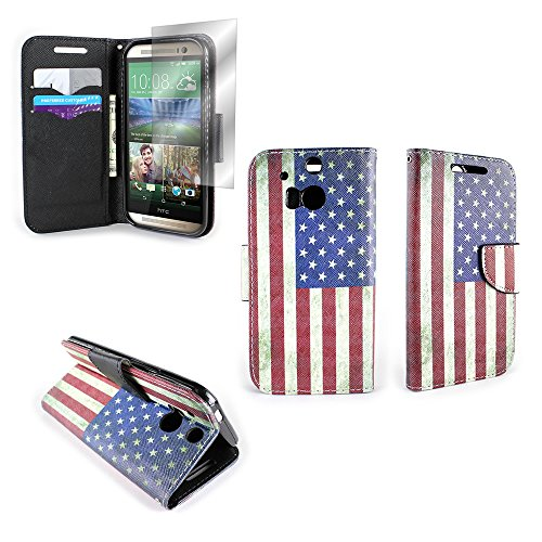 HTC One M8 Wallet Phone Case and Screen Protector (American Flag) | CoverON (CarryAll) Pouch Series | Tough Textured Unique Design Protective Exterior Flip Stand Cover with Credit Card Slots and Cash Pocket for HTC One M8 (Htc One M8 Wallet Case Strap)