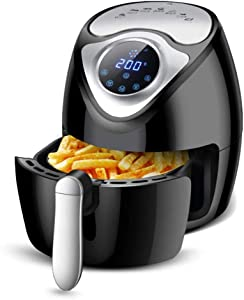 Air Fryer, 2.6L Air Fryer without Oil, Multifunction Hot Air Fryer with Timer and Adjustable Temperature, 7 Predefined Functions, Touch Screen LED, Electric Fryer, Non Stick Basket, Easy to Clean