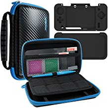 4 in 1 Protective Kit for New Nintendo 2DS XL, AFUNTA Zipper Carrying Case, Silicone Cover, Stylus and 2 PET Films Screen Protectors for Top and Bottom Screens, for 2DS LL and Accessories - Black