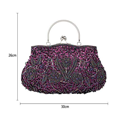 Luxury Lock WUHX One Dinner Shoulder Kiss Messenger Bag Flower Beaded Vintage Clutch E Design Evening Sequins Women's Dress tx1pvrqx