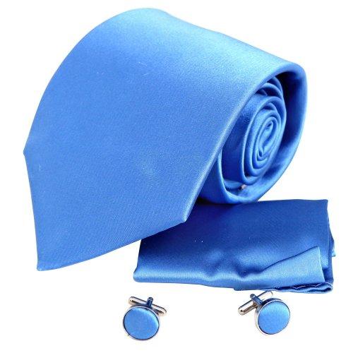 H5087 Blue Plain Birthday Gift Ideas Boyfriend Presents Silk Tie Cufflinks Hanky Set 3PT By Y&G
