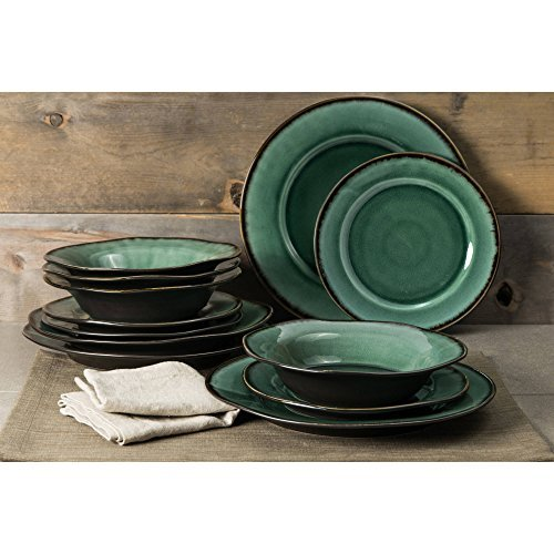Better Homes and Gardens Modern Stoneware Construction 12-Piece Microwave/Dishwasher Safe Dinnerware Set, Green -