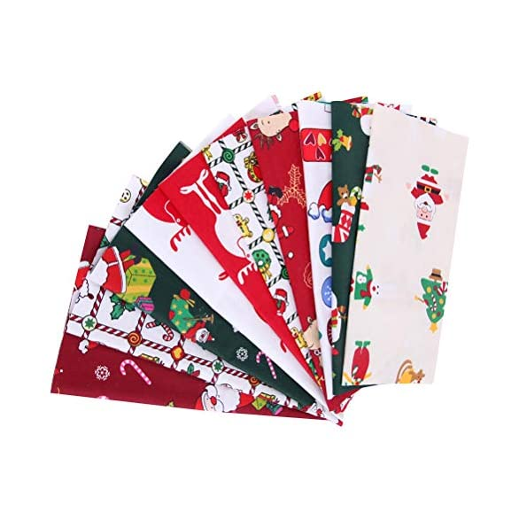QoFina-510-Stck-Patchwork-Stoffe-Weihnachten-Stil-25-x-25-cm-Bunte-Baumwollstoff-Set-Stoffpaket-fr-DIY-Weihnachtsstrumpf-Puppe-Kleid-Schrze-Scrapbooking