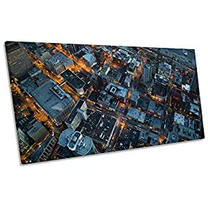 Canvas Geeks - Seattle Cityscape Birds Eye - 180cm wide x 90cm high Box Frame CANVAS WALL ART Panoramic Print Picture