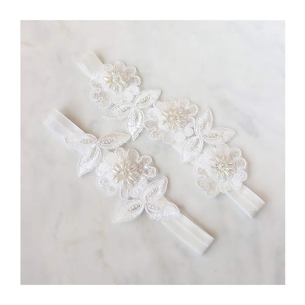 66be1597cf0 Amazon.com: yanstar Wedding Bridal Garter White Stretch Lace Pearls Bridal  Garter Sets Wedding: Clothing