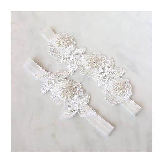 dadd7038175 Image Unavailable. Image not available for. Color  yanstar Wedding Bridal  Garter White Stretch Lace Pearls Bridal Garter Sets Wedding