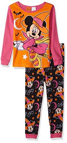 DisneyBig Girl, Minnie Mouse 2-Piece Cotton Halloween Pajama Set, Orange, 8