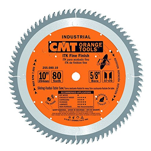 Industrial Saw - CMT 255.080.10 ITK Industrial Fine Finish Saw Blade, 10-Inch x 80 Teeth 40° ATB Grind with 5/8-Inch Bore
