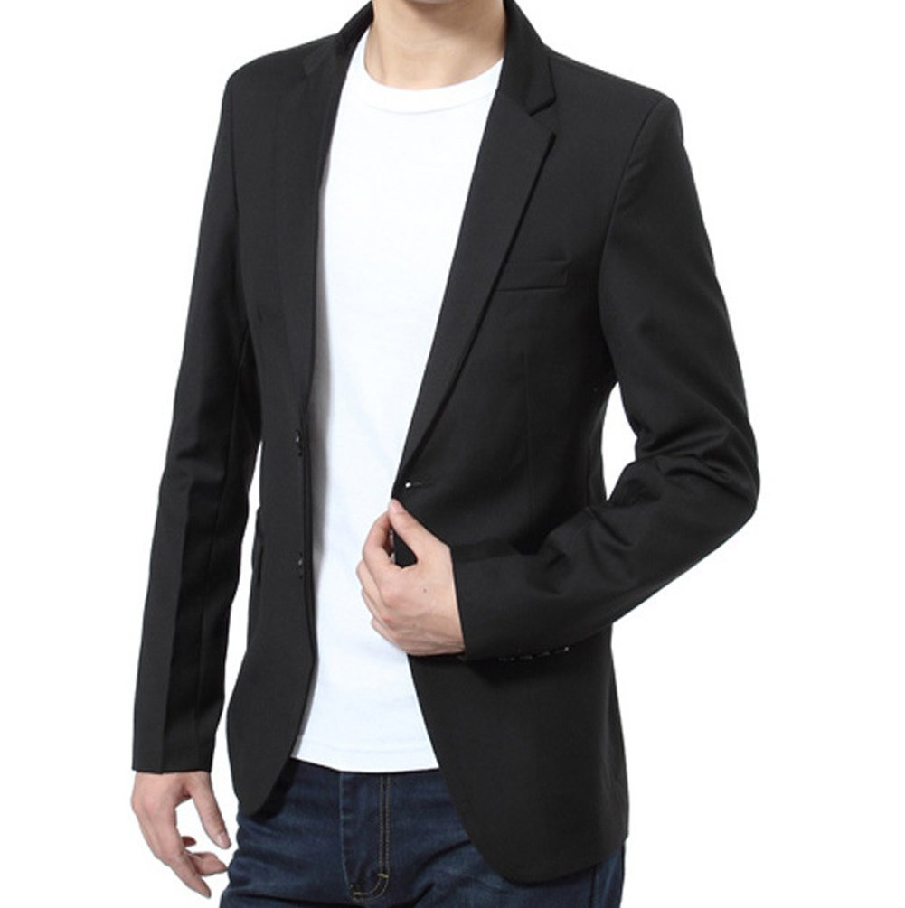 MS LOVE Men's Elegant 2 Button Blazer Sport Jacket Black XXXL