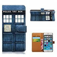 iPhone 7 PLUS PU Leather Doctor Who Tardis PHONE Case Card Slot Police Box Filp Wallet phone cover For iPhone 7 PLUS 5.5 INCH