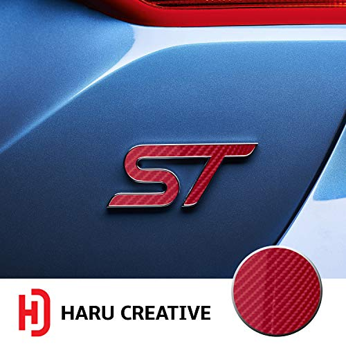 Haru Creative - Front Grille Hood Rear Trunk Emblem Letter Insert Overlay Vinyl Decal Sticker Compatible with and Ford Focus ST 2013-2019 - 6D High Gloss Carbon Fiber Red