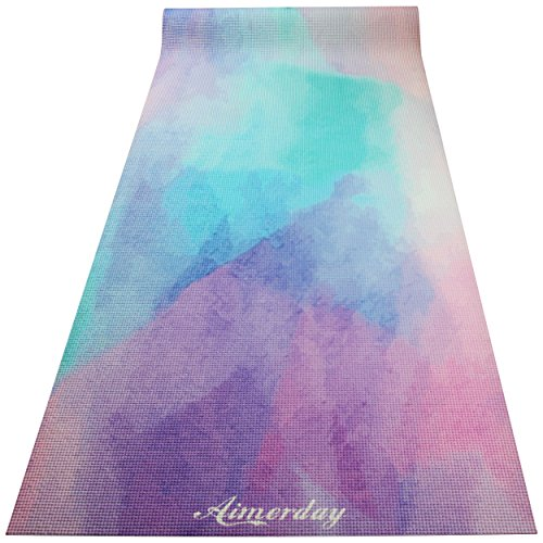 "Aimerday Premium Printed Yoga Mat 72 Inch Long 1/4"" Extra Thick High Density Eco friendly Non Slip Exercise Mats for Pilates, Fitness, Hot Yoga with Carrying Strap and Bag"