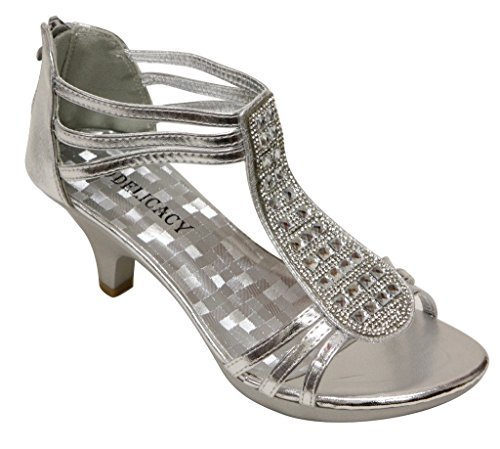 - Delicacy Angie-27 Women's Patent Open Toe Rhinestone Beads D'Orsay Zip Closure Kitten Heel Dance Shoes,Silver,8.5