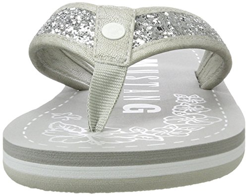 Mustang 1243-702-21, Sandalias de Punta Descubierta para Mujer Plateado (21 Silber)
