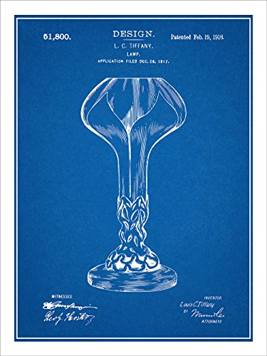 Leaded Stained Glass Lamp (1918 Louis Comfort Tiffany Lamp Patent Print Art Poster UNFRAMED Blueprint 18