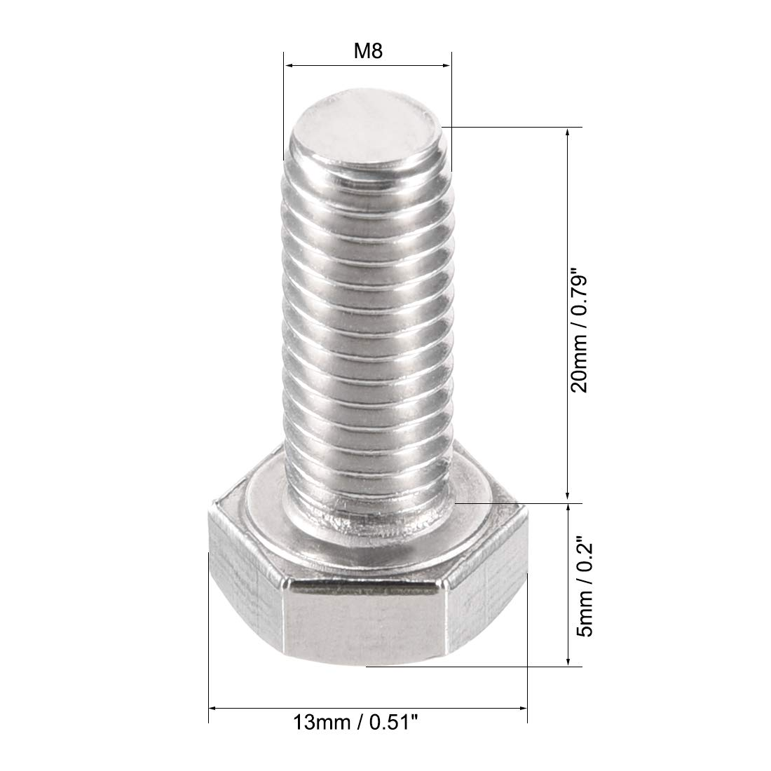 Stainless Steel Reverse Threaded Hex Tap Screw Bolts 2pcs uxcell M10 Left Hand Hex Head Bolt M10-1.5 x 20mm UNC A2-70 304