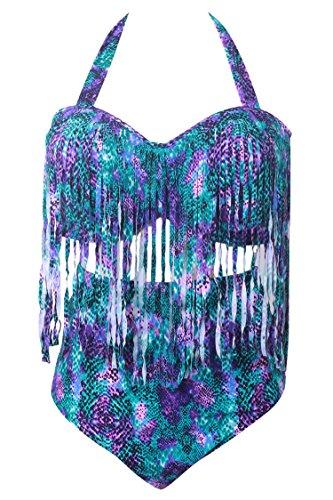 Pink Queen Women's Plus Size Swimwear High Waist Braided Fringe Bikini Purple XXL