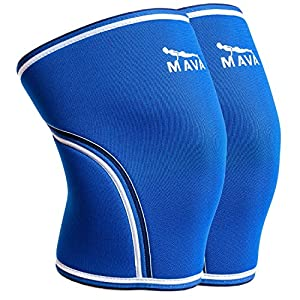 Mava Sports Compression Knee Sleeves with Preventive & Recovery Effect - Use to Prevent Injuries and for Faster Recovery & Rehab from existing Injuries - with Double Stitching - Pair