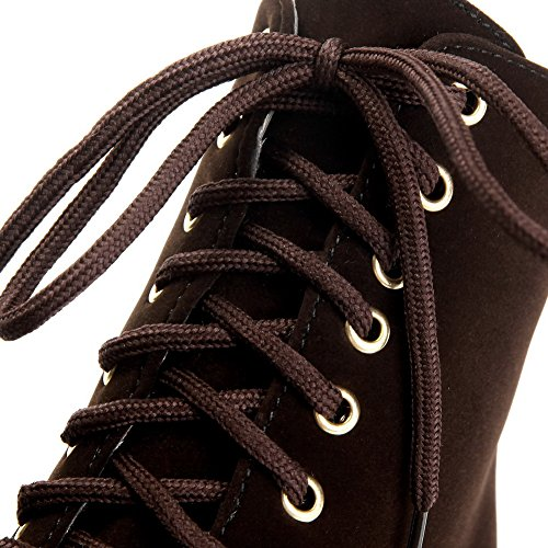 Brown Frosted Heels Boots up Low top Solid Women's High Lace Allhqfashion qFZwn71Sx