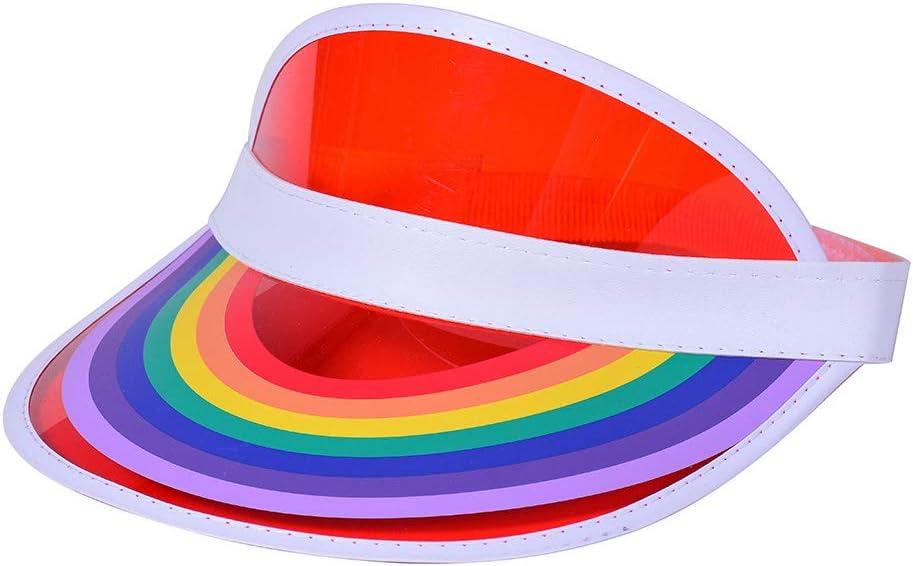 siwetg Frauen M/änner Sommer Kunststoff Sonnenblende Hut Regenbogen Br/ücke Drucken Leere Oberseite Transparenter UV-Schutz Hip Hop Tennis Elastic Beach Cap