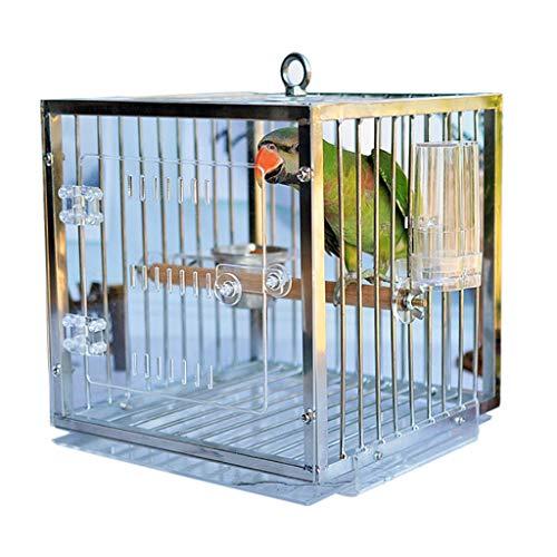 - Upgrade Transparent Bird Cage Perches High-Grade Flight Cage Including Feeding Cup Birds Out of The Box Metal Bird Cage Bird Carrier Bag Bird Breeding Cage, Suitable for Parrots/Small Birds/Parakeets