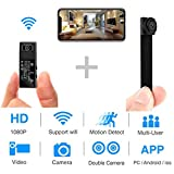 Cheap Hidden Spy Camera,1080P WiFi Mini Camera Portable Wireless Security Cameras Video Recorder IP Cameras Nanny Cam with DIY Interchangable Lens/Motion Detection for Indoor Outdoor Monitoring