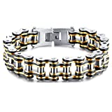 Wonlines Hip Hop Stainless Steel Bicycle Chain Bracelet,Width 15MM(W.2)