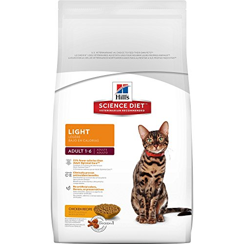 Hill's Science Diet Adult Light Cat Food, Chicken Recipe for Weight Management, Dry Cat Food, 4 lb Bag