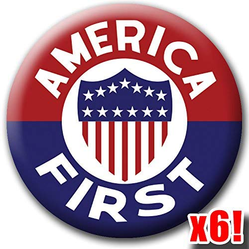 (America First 6-Pack Buttons - Flag Shield Badges - Classic Retro Design - Large 2.25 Inch Pinbacks )