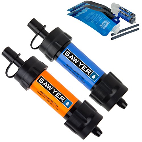 Sawyer Products SP2103 MINI Water Filtration System, 2 Pack, Blue and Orange