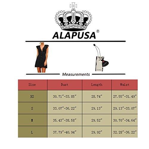 Alapusa Des Femmes De Bouton D'été Vers Le Bas Du Cou V Mini Robe Noire Sundress