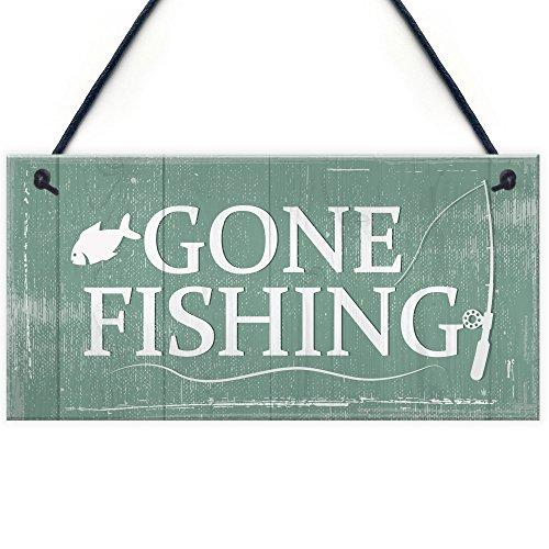 Gone Fishing Hanging Plaque Nautical Decor Sign Dad Grandad Shabby Chic Birthday Gift Home (Gone Fishing Gift)