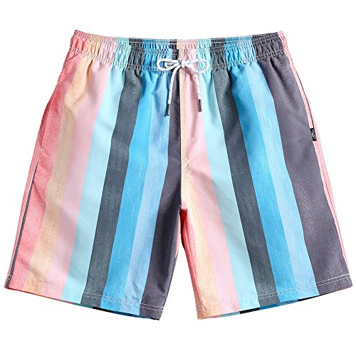 MaaMgic Mens Quick Dry Striped Swim Trunks with Mesh Lining Swimwear Bathing Suits 181118584 ()