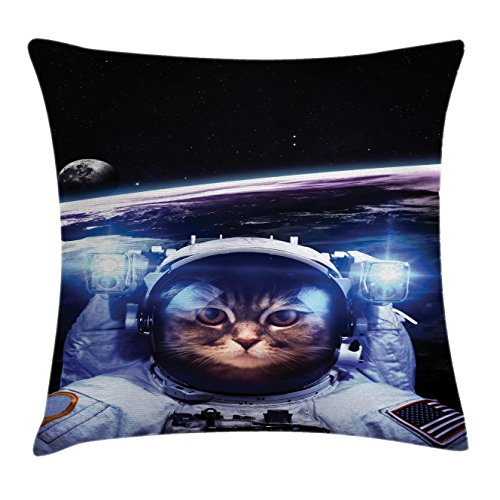 Price comparison product image Ambesonne Cat Throw Pillow Cushion Cover, Funny Astronaut Cat Above Earth in Outer Space Explorer Kitty Mission Humor Art Image, Decorative Square Accent Pillow Case, 20 X 20 Inches, Blue White