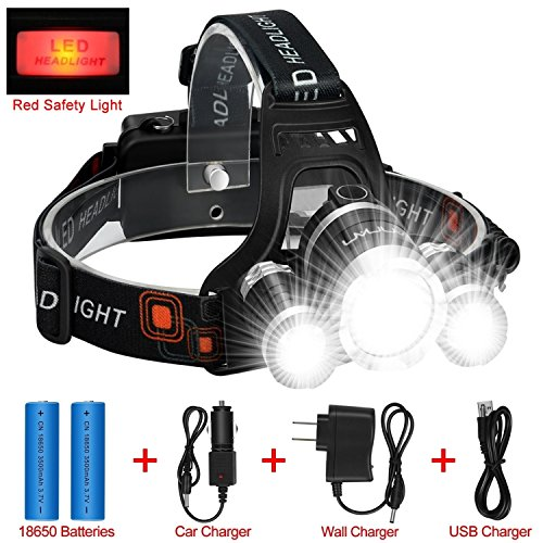 LED Headlamp Flashlight Kit, ANNAN 8000-Lumen Extreme Bright Headlight with Red Safety Light, 4 Modes, Waterproof, Portable Light for Camping, Biking, 2 Rechargeable Lithium Batteries Included -