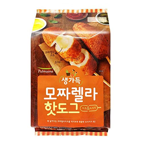 Pulmuone Korean Mozzarella/Fish Cake Corn Dogs, 5 Hot Dogs 모짜렐라 핫도그 1 Pack
