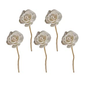 Healifty 5 Pcs Wood Rattan Reed Diffuser Sticks with Flower Shape Head Natural Fragrance Straight Reed Diffuser Aroma Oil Diffuser Rattan Sticks for DIY Crafts