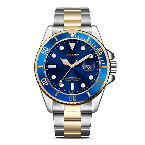 SINOBI Fashion Sportive Men Analog Quartz Golg Hands Classic Blue Dial Date Calendar Watches Stainless Steel Strap Waterproof Casual WristWatch for Men