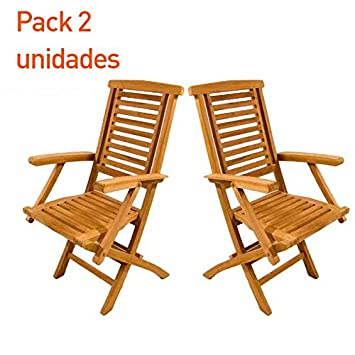 Edenjardi Pack 2 sillones teca plegable - Portes Gratis ...