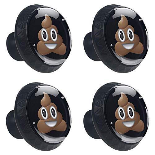DEYYA 4 PCS Happy Funny Poop Emoji Face Crystal Glass Drawer Knob Pull Handle 30mm Ergonomic Circle Furniture Cabinet Handle for Kitchen Dresser Cupboard Wardrobe ()
