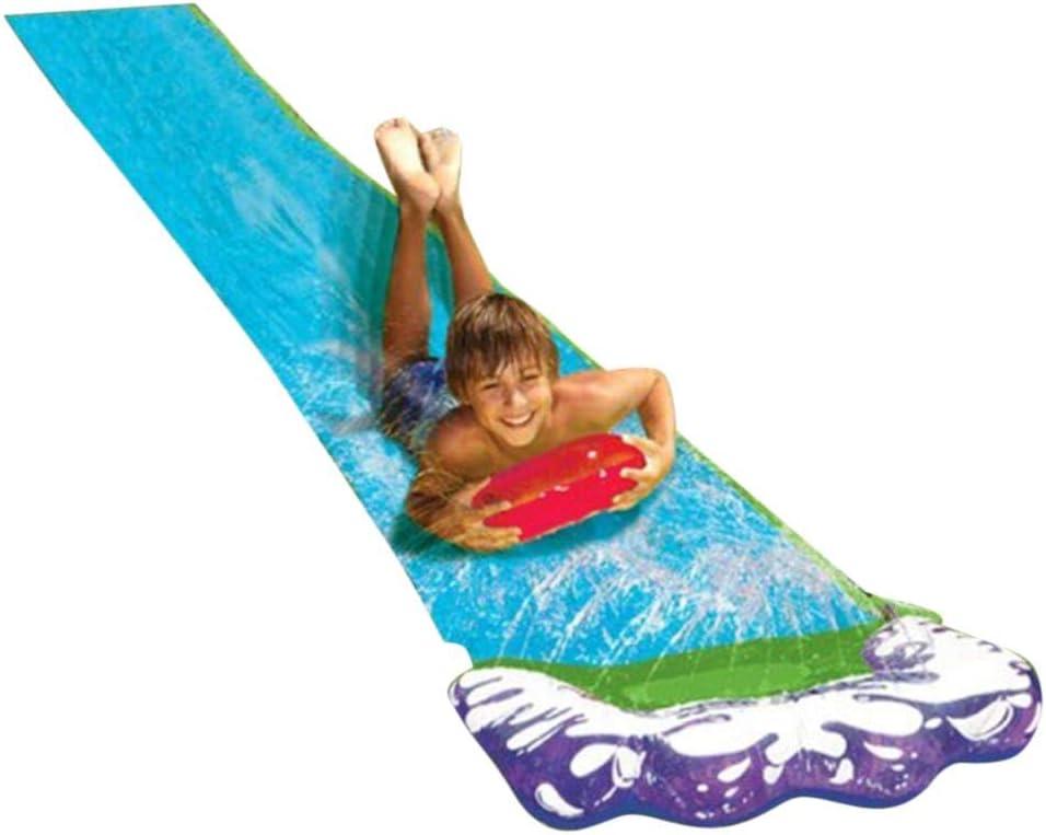 Lawn Water Slides Children Slip Slide Splash Sprinkler and Inflatable Crash Pad Water Slide for Kids Backyard Swimming Pool Games Outdoor Summer Fun 360X70cm