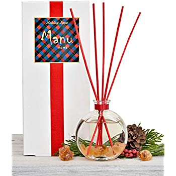 Manu Home Holiday Reed Diffuser ~ Includes Beautiful Reusable Decorative Bottle, Our Exclusive Holiday Wreath & Spice Scent, Amber Crystals and Set of Red Sticks ~ 4.5oz ~ Made in The USA~