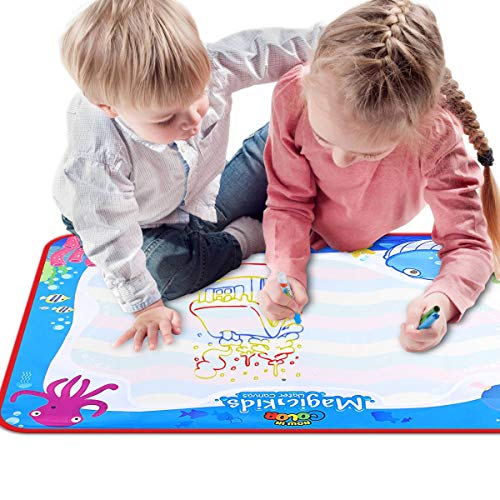VARWANEO Aqua Magic Doodle Mats Both Sides Used Water Drawing Doodling Mat Coloring Mat Educational Developmental Toys Gifts for Kids Toddlers Toy for Age 3 4 5 6 7 8 Boys Girls