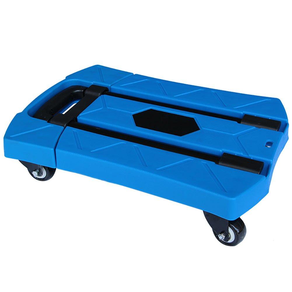 ZGL トラック フォールドフラットベッドトラックポータブルトロリーサイレントヴァンプルグッズトロリーエフォートトロリーポータブルトレーラー (色 : 青) B07CTQ2MJR 青 青