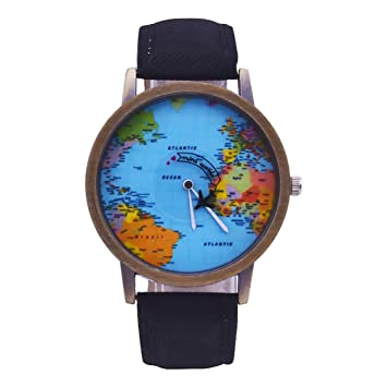 Relojes de pulsera de moda, accesorios creativos, mapa del mundo, unisex, puntero, cuarzo, sin números, para fiestas, reloj de pulsera: Amazon.es: Belleza