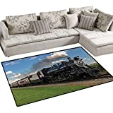 Steam Engine,Carpet,Vintage Locomotive in Countryside Scenery Green Grass Puff Train Picture,Non Slip Rugs,Blue Green Black,48''x60''