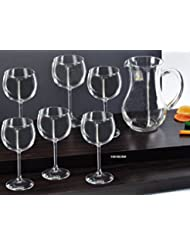 Le Monde Cadeaux Swarovski Jeweled Crystal Wine Glasses On A Long Stem And Decanter Set Classic Elegant Red White Wine Goblets And Carafe Inlaid With Crystals 1 6 Piece Set